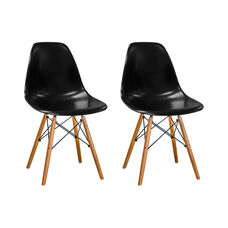 Paris Tower Side Chair with Wood Legs and Black Seat - Set of 2