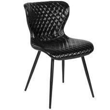 Bristol Contemporary Upholstered Chair in Black Vinyl