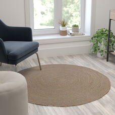 4 Foot Round Braided Design Natural Jute and Polyester Blend Indoor Area Rug