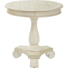 Inspired By Bassett Avalon Round Accent Table - Antique Beige Finish