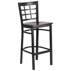 Black Window Back Metal Restaurant Barstool with Walnut Wood Seat