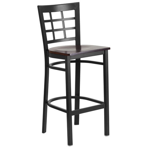 Our Black Window Back Metal Restaurant Barstool with Walnut Wood Seat is on sale now.
