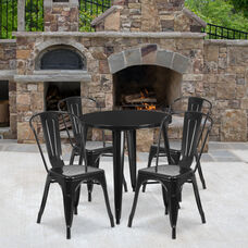 "Commercial Grade 30"" Round Black Metal Indoor-Outdoor Table Set with 4 Cafe Chairs"