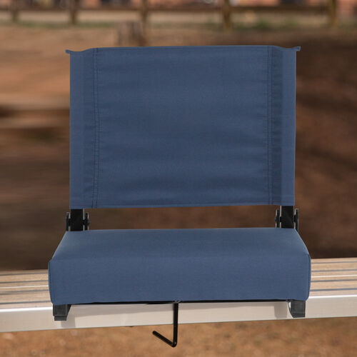 Grandstand Comfort Seats by Flash - 500 lb. Rated Lightweight Stadium Chair with Handle & Ultra-Padded Seat, Navy Blue