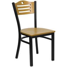 Black Slat Back Metal Restaurant Chair with Natural Wood Back & Seat