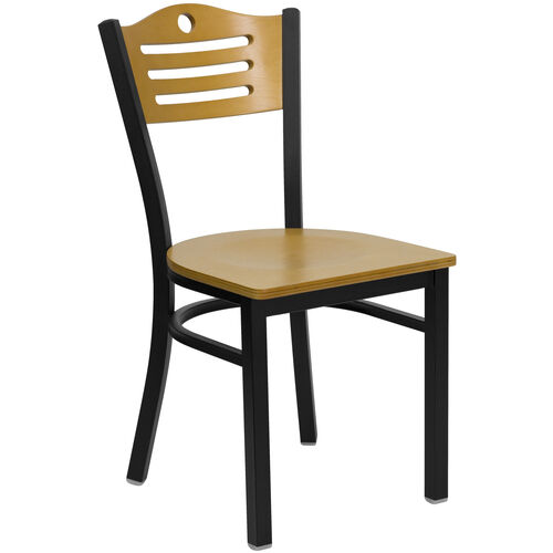Our Black Slat Back Metal Restaurant Chair with Natural Wood Back & Seat is on sale now.