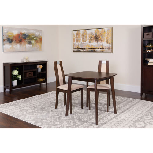 Our Stonington 3 Piece Espresso Wood Dining Table Set with Curved Slat Wood Dining Chairs - Padded Seats is on sale now.