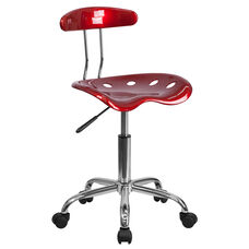 Vibrant Wine Red and Chrome Swivel Task Office Chair with Tractor Seat