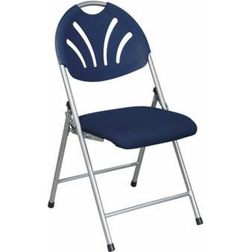 Our Work Smart Plastic Folding Chair with Fan Back and Padded Mesh Seat - Set of 4 - Blue with Silver Frame is on sale now.