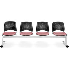 Stars 4-Beam Seating with 4 Fabric Seats - Coral Pink