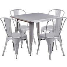 "Commercial Grade 31.5"" Square Silver Metal Indoor-Outdoor Table Set with 4 Stack Chairs"