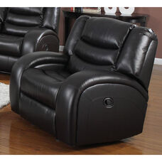 Dacey Transitional Style Bonded Leather Glider Recliner with Hand Latch - Black