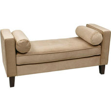Ave Six Curves Velvet Upholstered Bench with Bolsters and Espresso Finish Legs - Coffee
