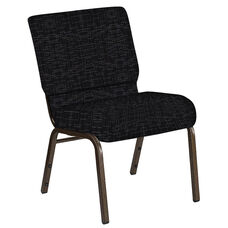 Embroidered 21''W Church Chair in Amaze Ebony Fabric - Gold Vein Frame