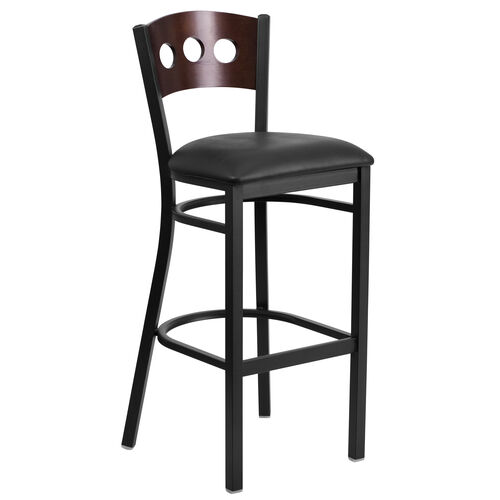 Our Black Decorative 3 Circle Back Metal Restaurant Barstool with Walnut Wood Back & Black Vinyl Seat is on sale now.