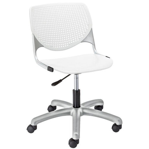 Our TK2300 KOOL Series Poly Armless Task Chair with Perforated Back and Silver Frame - White is on sale now.