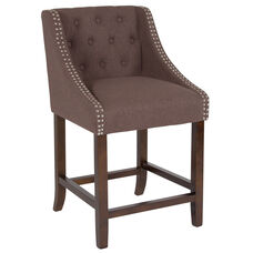 """Carmel Series 24"""" High Transitional Tufted Walnut Counter Height Stool with Accent Nail Trim in Brown Fabric"""
