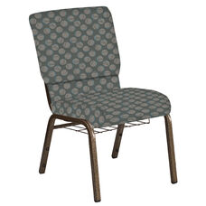Embroidered 18.5''W Church Chair in Cirque Olive Fabric with Book Rack - Gold Vein Frame