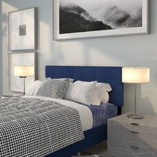 Bedford Tufted Upholstered Full Size Headboard in Navy Fabric