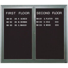 2 Door Indoor Illuminated Enclosed Directory Board with Aluminum Frame - 48