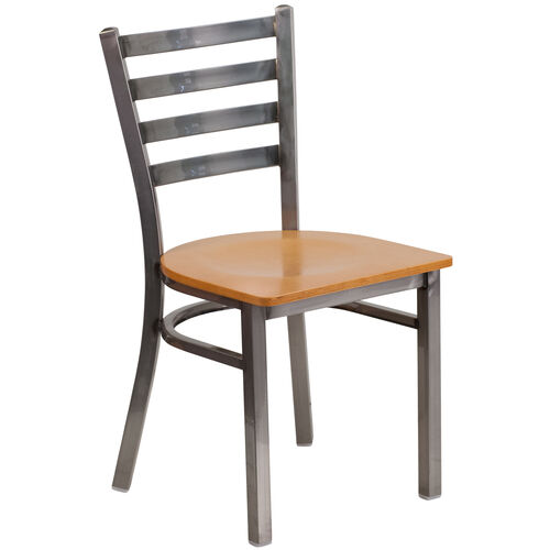 Our Clear Coated Ladder Back Metal Restaurant Chair with Natural Wood Seat is on sale now.