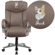 Embroidered HERCULES Series Big & Tall 500 lb. Rated Taupe Leather Executive Swivel Chair with Extra Wide Seat