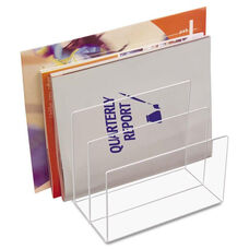 Kantek Clear Acrylic Desk File - Three Sections - 8 x 6 1/2 x 7 1/2 - Clear