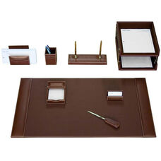 Rustic Leather 10 Piece Desk Set - Brown