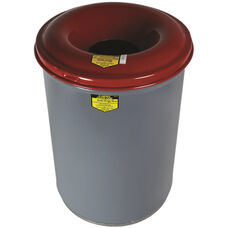Cease-Fire® 55 Gallon Heavy Duty Waste Receptacles with Red Steel Head - Gray