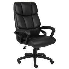 Top Grain Italian Leather Executive Chair with Casters - Black