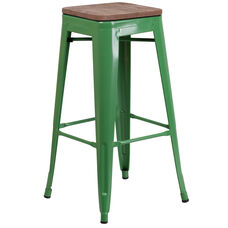"30"" High Backless Green Metal Barstool with Square Wood Seat"