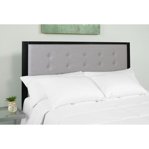 Bristol Metal Tufted Upholstered Queen Size Headboard in Light Gray Fabric