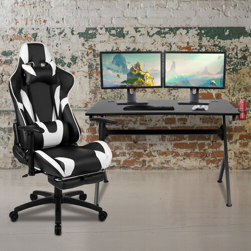 Gaming Desk and Footrest Reclining Gaming Chair Set with Cup Holder, Headphone Hook & 2 Wire Management Holes