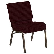 Embroidered 21''W Church Chair in Jewel Garnet Fabric - Gold Vein Frame