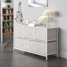 Storage Unit Chest, Drawer Organizer with sturdy steel frame, wood top and easy to pull fabric drawers - White/Gray
