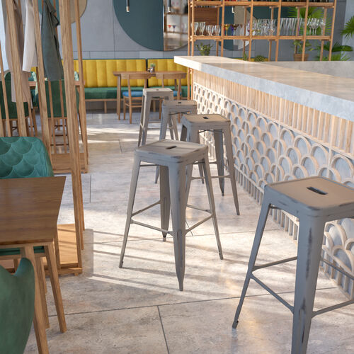 """Commercial Grade 30"""" High Backless Distressed Silver Gray Metal Indoor-Outdoor Barstool"""