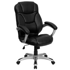 High Back Black Leather Contemporary Executive Swivel Ergonomic Office Chair with Silver Nylon Base and Arms