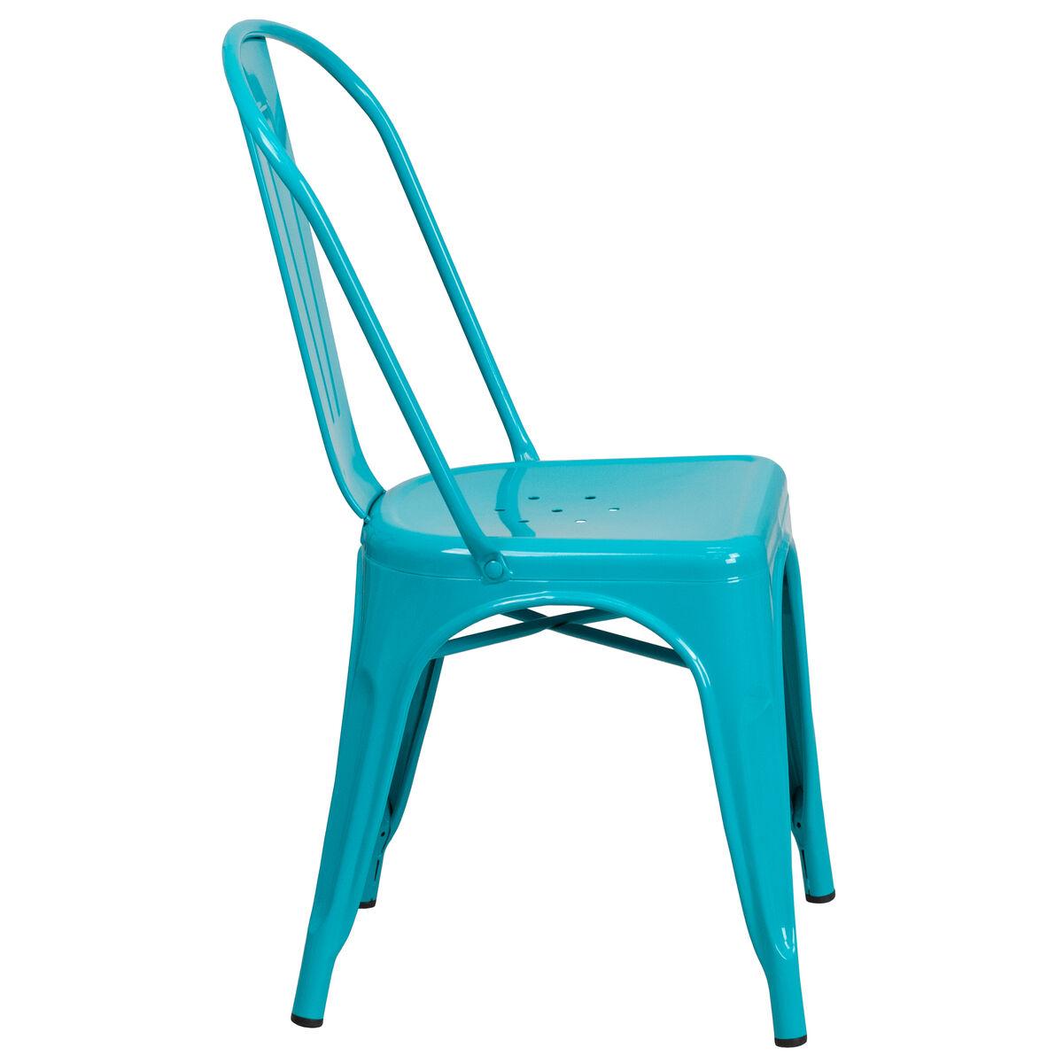 Crystal Teal Blue Metal Chair Et 3534 Cb Gg Bizchair Com