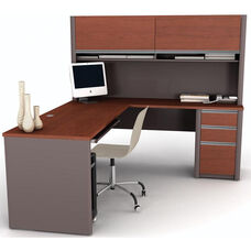 Connexion L-Shaped Desk and Hutch Workstation with Wire Management - Bordeaux and Slate