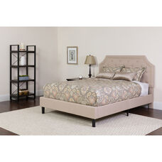 Brighton Twin Size Tufted Upholstered Platform Bed in Beige Fabric with Pocket Spring Mattress