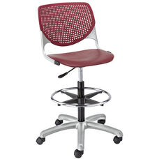 DS2300 KOOL Series Poly Armless Task Stool with Perforated Back and Silver Frame - Burgundy