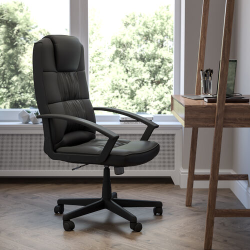 High Back Black LeatherSoft Task Chair with Arms - Desk Chair, BIFMA Certified