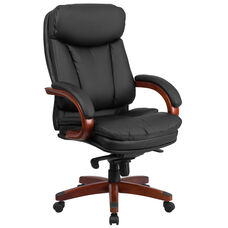 High Back Black Leather Executive Ergonomic Office Chair with Synchro-Tilt Mechanism, Mahogany Wood Base and Arms