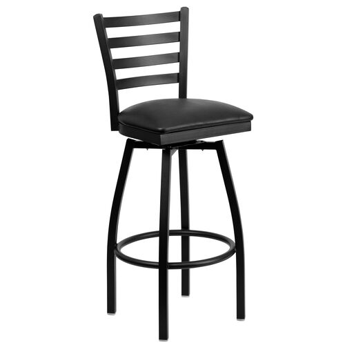 Our Black Metal Ladder Back Restaurant Barstool with Black Vinyl Swivel Seat is on sale now.