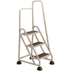 Stop Step 3 Step Ladder with Right Handrail - Beige