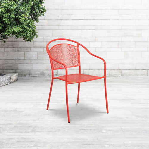 Our Commercial Grade Coral Indoor-Outdoor Steel Patio Arm Chair with Round Back is on sale now.