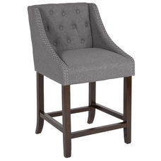 "Carmel Series 24"" High Transitional Tufted Walnut Counter Height Stool with Accent Nail Trim in Dark Gray Fabric"