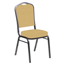 Embroidered Crown Back Banquet Chair in Venus Parchment Fabric - Silver Vein Frame