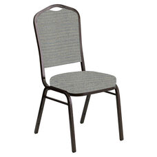 Crown Back Banquet Chair in Highlands Slate Fabric - Gold Vein Frame