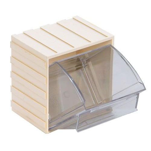 3.75u0027u0027W Mini Individual Clear Tip Out Bin   Ivory